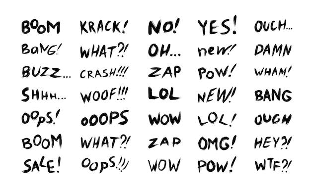 Vectorverzameling van zinnen en komische woorden voor verkoopchats en expressieve berichten