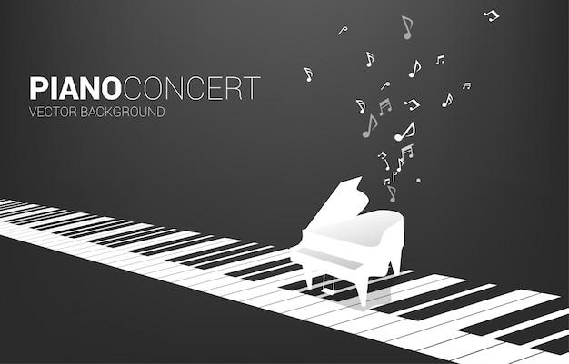 Vectorvleugelpiano met op pianosleutel en muzieknota. concept achtergrond voor lied en concert thema.
