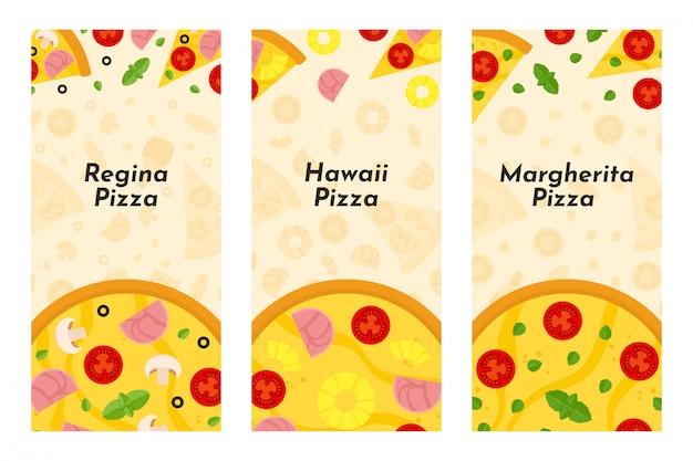 Vectorvliegers van pizza en pizzeria Premium Vector