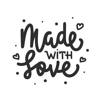 Vectorvoedsel of met de hand gemaakte inspirerende en reclamesloganposter gemaakt met liefde