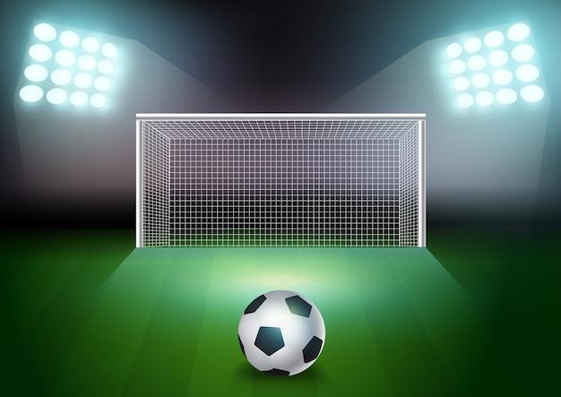 Vectorvoetbalbal op het groene gebied