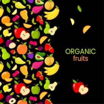 Vectorvruchten kader dat op zwarte achtergrond wordt geïsoleerd. biologisch fruit
