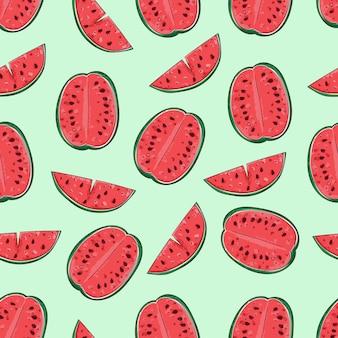 Vectorwatermeloenachtergrond met zwarte zaden