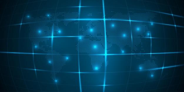 Vectorwereldkaart met continent op een blauwe achtergrond