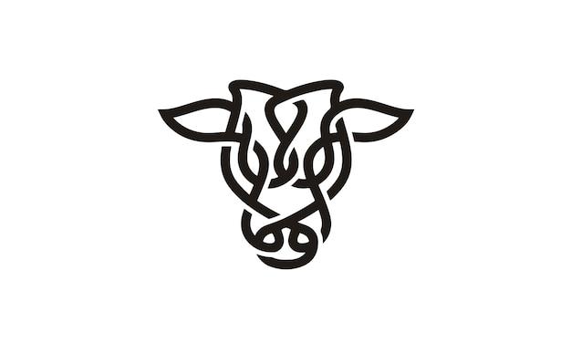 Vee hoofd met keltische stijl logo ontwerp inspiratie