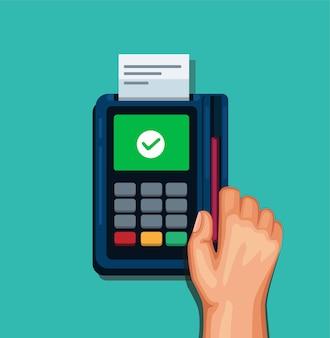 Veeg de kaart met de hand naar het betaalapparaat in de kassier of winkel zonder contant geld