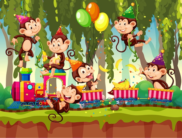 Veel apen in feestthema in natuur bos achtergrond