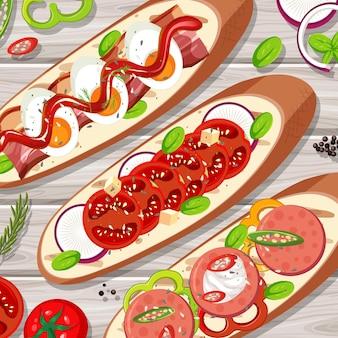 Veel bruschetta toast op tafel close-up