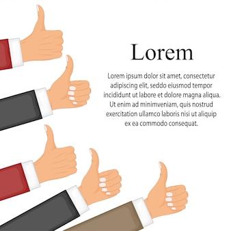 Veel duimen omhoog. sociaal netwerk leuk, goedkeuring, klanten feedback concept