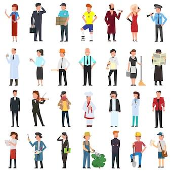 Veel eenvoudige karakters van verschillende beroepen.