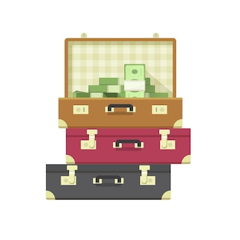 Veel geldhoop of miljoen contante stapel dollars in platte cartoon koffer case