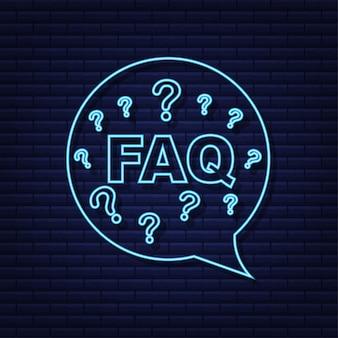 Veel gestelde vragen faq banner. neon icoon. computer met vraagpictogrammen. vector illustratie.