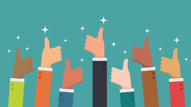 Veel hand duimen omhoog feedback van etnische groep mensen uit het bedrijfsleven concept