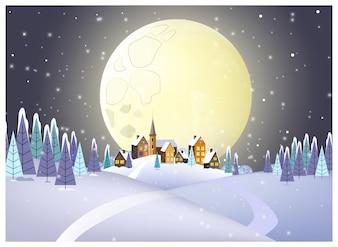 Veel huizen tegen volle maan illustratie