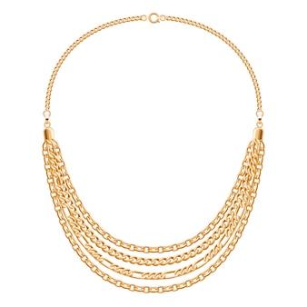 Veel kettingen gouden metalen ketting. persoonlijk modeaccessoire.
