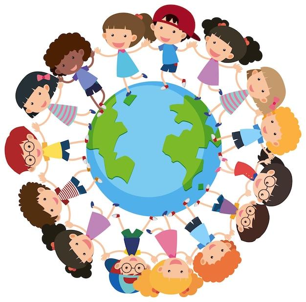Veel kinderen hand in hand en staan rond de aarde