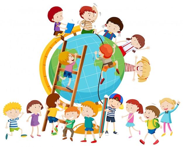 Veel kinderen over de hele wereld