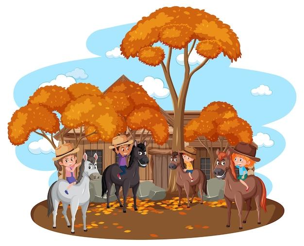 Veel kinderen rijden paarden met herfstbomen op witte achtergrond