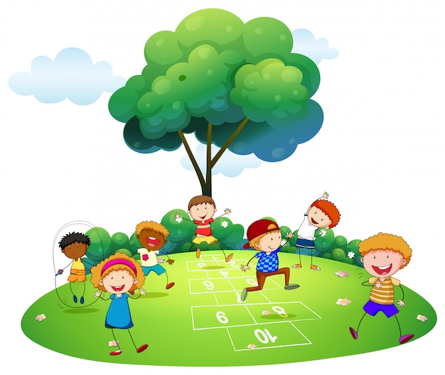 Veel kinderen spelen hinkelen in het park