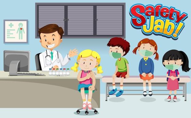 Veel kinderen wachten in de rij om een vaccin te krijgen met een stripfiguur van een arts in de ziekenhuisscène