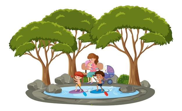 Veel kinderen zwemmen in de vijver met veel bomen