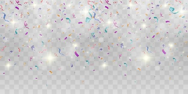 Veel kleurrijke kleine confetti en linten op transparant