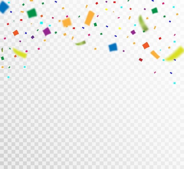 Veel kleurrijke kleine confetti en linten op transparant.