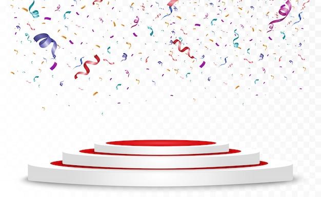 Veel kleurrijke kleine confetti en linten op transparante achtergrond. feestelijk evenement en feest. multicolor achtergrond. kleurrijke heldere confetti geïsoleerd op het podium.