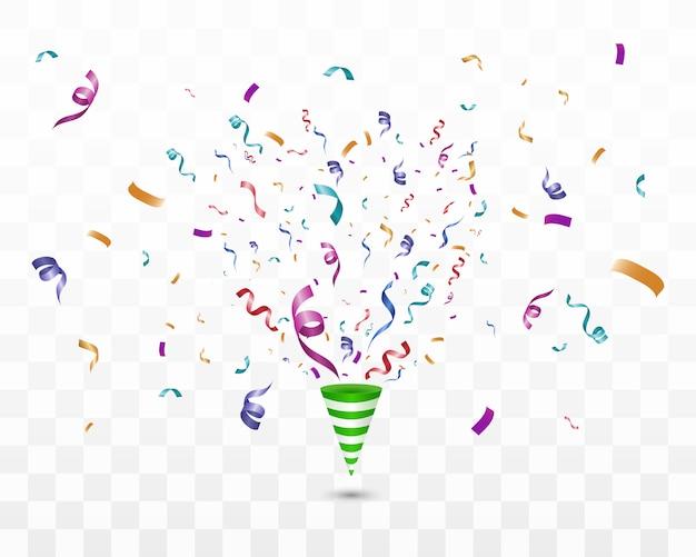 Veel kleurrijke kleine confetti en linten op transparante achtergrond. feestelijk evenement en feest. multicolor achtergrond. kleurrijke heldere confetti op transparante achtergrond