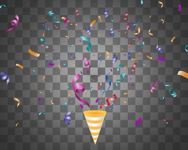 Veel kleurrijke kleine confetti en linten op transparante achtergrond. kleurrijke heldere confetti geïsoleerd op transparante achtergrond