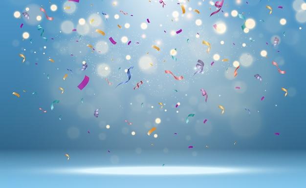 Veel kleurrijke kleine confetti en linten op transparante achtergrond.