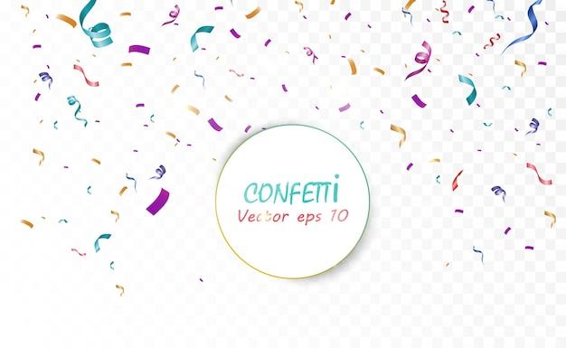 Veel kleurrijke kleine confetti en linten