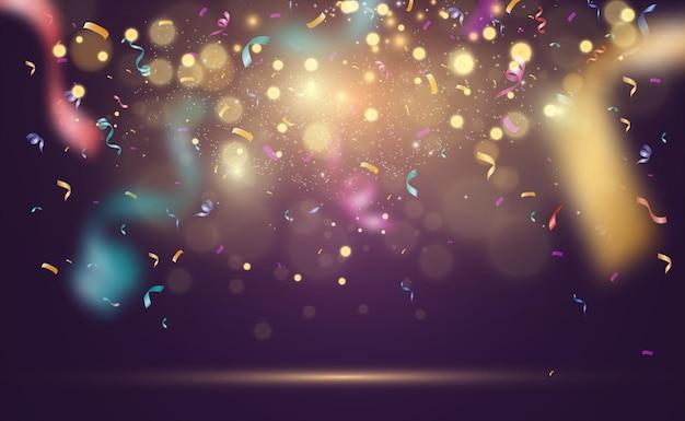 Veel kleurrijke kleine confetti en linten.