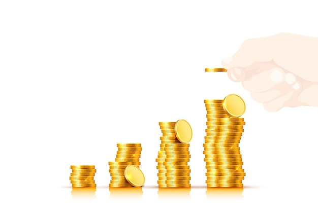 Veel munt spaarvarken op een witte achtergrond. vector illustratie