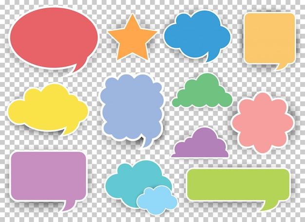 Veel ontwerpen van spraakbellen in verschillende kleuren