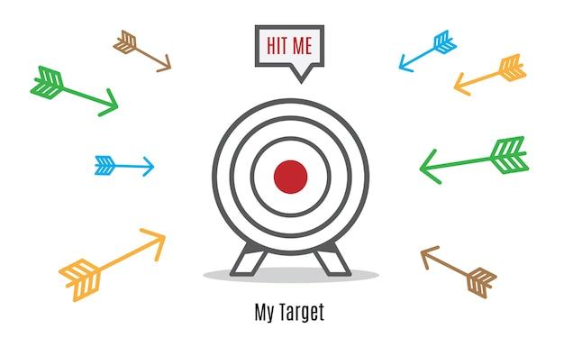 Veel pijl haasten naar dart board, business concept, hit de doelgroep