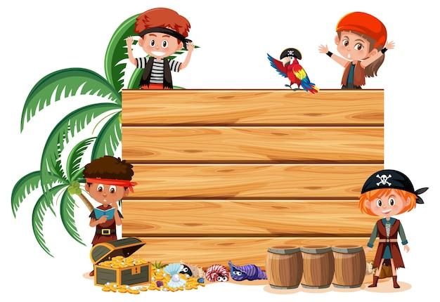 Veel piratenkinderen met een lege banner op een witte achtergrond