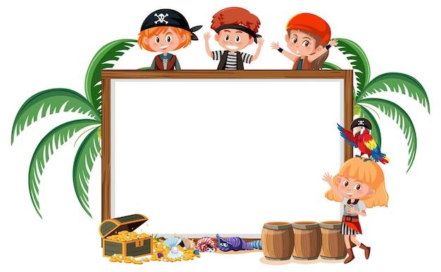 Veel piratenkinderen met lege bannersjabloon