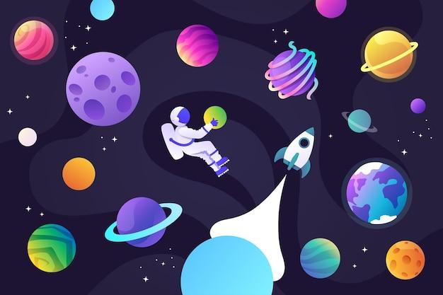 Veel planeten in de ruimte, een raket en een astronaut.