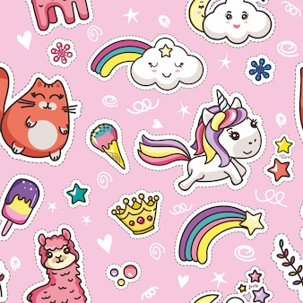 Veel plezier dag bericht kawaii kaart meisjesachtig sjabloon