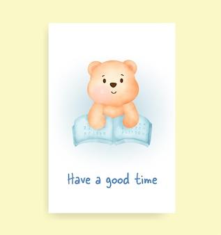 Veel plezier kaart met schattige teddybeer