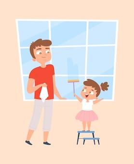 Veel plezier met schoonmaken. meisje wassen ramen. gezinsschoonmaak, huishouden. vader en dochter schoon glas vectorillustratie
