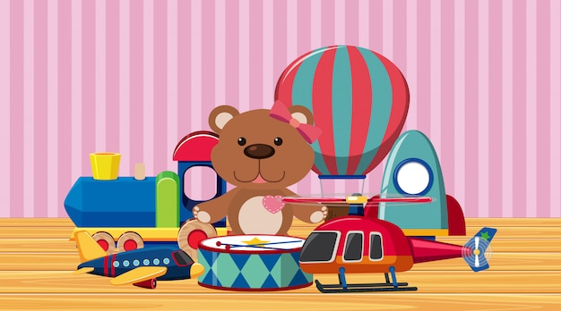 Veel schattig speelgoed op houten vloer