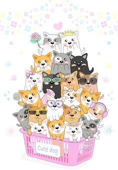 Veel schattige kleine honden zitten in een roze mand