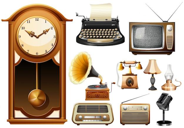 Veel soorten antieke electornic-apparaten