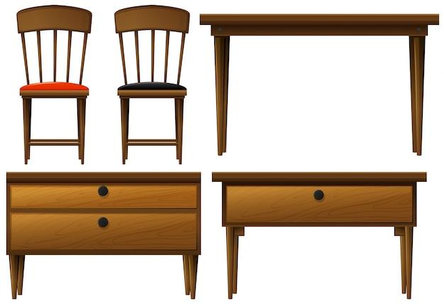 Veel soorten houten meubels illustratie