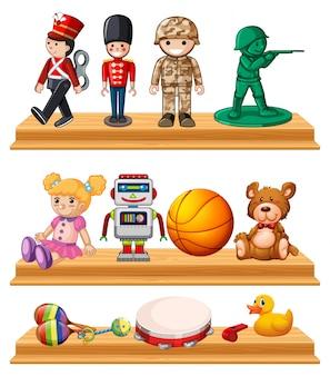 Veel speelgoed op houten planken