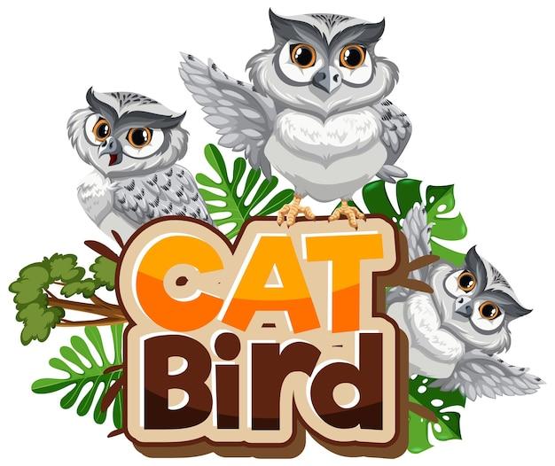 Veel witte uilen stripfiguur met cat bird lettertype banner geïsoleerd