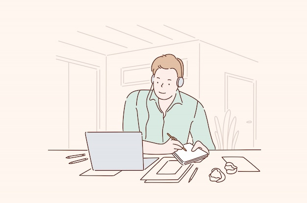 Veelbelovende zakenman op het kantoor concept
