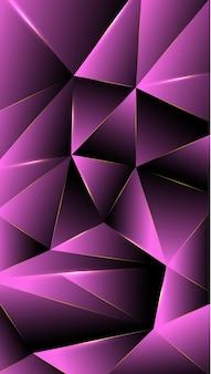 Veelhoek, abstracte zwarte, roze gradiëntbehang achtergrond vectorillustratie